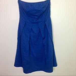 J. Crew Blue Strapless Lorelei Dress-EUC